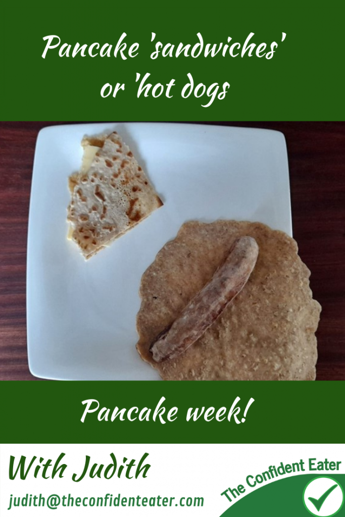 Pancake 'sandwiches' or 'hot dogs' for fussy or picky eaters #pancakesandwich, #pancakehotdog, #funpancakes, #pancakes, #funfoodsforpickyeaters, #funfoodsdforfussyeaters, #Recipesforpickyeaters, #helpforpickyeaters, #helpforpickyeating, #Foodforpickyeaters, #theconfidenteater, #wellington, #NZ, #judithyeabsley, #helpforfussyeating, #helpforfussyeaters, #fussyeater, #fussyeating, #pickyeater, #pickyeating, #supportforpickyeaters, #winnerwinnerIeatdinner, #creatingconfidenteaters, #newfoods, #bookforpickyeaters, #thecompleteconfidenceprogram, #thepickypack