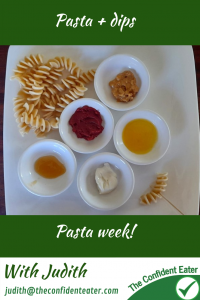 Pasta with dips #pastaanddips, #funpasta, #pastaforpickyeaters, #pastaforfussyeaters, #funfoodsforpickyeaters, #funfoodsdforfussyeaters, #Recipesforpickyeaters, #helpforpickyeaters, #helpforpickyeating, #Foodforpickyeaters, #theconfidenteater, #wellington, #NZ, #judithyeabsley, #helpforfussyeating, #helpforfussyeaters, #fussyeater, #fussyeating, #pickyeater, #pickyeating, #supportforpickyeaters, #winnerwinnerIeatdinner, #creatingconfidenteaters, #newfoods, #bookforpickyeaters, #thecompleteconfidenceprogram, #thepickypack