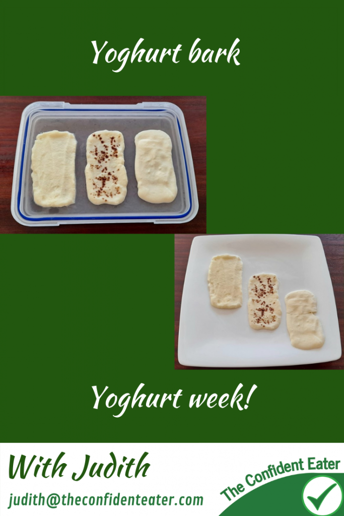 Yoghurt bark - recipes for picky eaters and fussy eaters #yoghurtbark, #funyoghurt, #yoghurtrecipe, #funfoodsforpickyeaters, #funfoodsdforfussyeaters, #Recipesforpickyeaters, #helpforpickyeaters, #helpforpickyeating, #Foodforpickyeaters, #theconfidenteater, #wellington, #NZ, #judithyeabsley, #helpforfussyeating, #helpforfussyeaters, #fussyeater, #fussyeating, #pickyeater, #pickyeating, #supportforpickyeaters, #winnerwinnerIeatdinner, #creatingconfidenteaters, #newfoods, #bookforpickyeaters, #thecompleteconfidenceprogram, #thepickypack