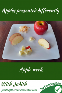 Different apple presentations – for fussy eaters #applecolours, #differentapplepresentations, #applerecipesforfussyeaters, #applerecipesforpickyeaters, #coleslaw, #carrotcoleslaw #carrotrecipes, #trynewfoods, #funfoodsforpickyeaters, #funfoodsdforfussyeaters, #Recipesforpickyeaters, #helpforpickyeaters, #helpforpickyeating, #Foodforpickyeaters, #theconfidenteater, #wellington, #NZ, #judithyeabsley, #helpforfussyeating, #helpforfussyeaters, #fussyeater, #fussyeating, #pickyeater, #pickyeating, #supportforpickyeaters, #winnerwinnerIeatdinner, #creatingconfidenteaters, #newfoods, #bookforpickyeaters, #thecompleteconfidenceprogram, #thepickypack